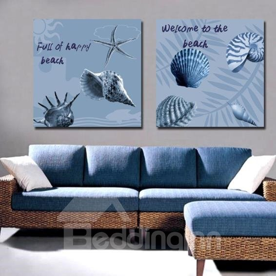 New Arrival Lovely Seashell and Letters Print 2-piece Cross Film Wall Art Prints