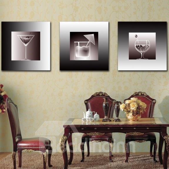 New Arrival Lovely Ice Cream Cups Print 3-piece Cross Film Wall Art Prints 10862173