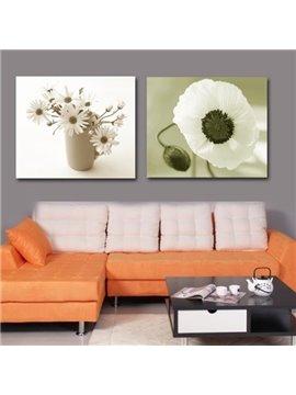 New Arrival Modern Style Lovely White Flowers Print 2-piece Cross Film Wall Art Prints