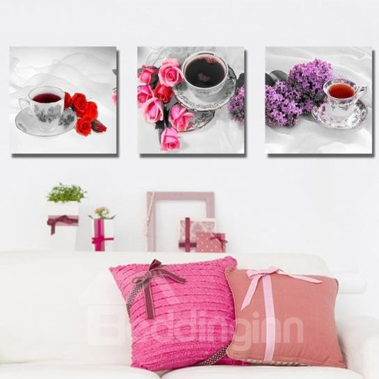 New Arrival Elegant Tea Cup Sets and Flowers Print 3-piece Cross Film Wall Art Prints