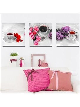 New Arrival Elegant Tea Cup Sets and Flowers Print 3-piece Cross Film Wall Art Prints