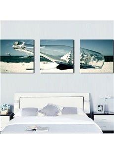 Beautiful Sailing Ship in Drift Bottle Print 3-piece Cross Film Wall Art Prints