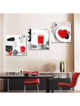New Arrival Beautiful Black and Red Patterns Print 3-piece Cross Film Wall Art Prints