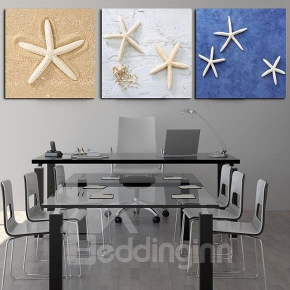 New Arrival Sweet Starfishes Print 3-piece Cross Film Wall Art Prints