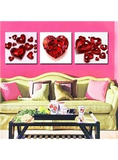 New Arrival Beautiful Red Crystal Heart Print 3-piece Cross Film Wall Art Prints