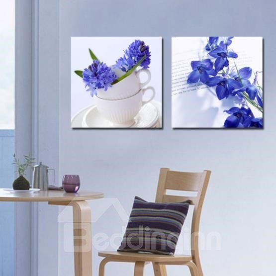 New Arrival Elegant Blue Flowers and White Cups Print 2-piece Cross Film Wall Art Prints 10863830