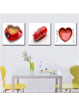 New Arrival Beautiful Red Heart Shape Pills and Cups Print 3-piece Cross Film Wall Art Prints