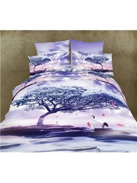 High Quality Light Purple Crane  Under Tree Print  4 Piece Polyester 3D Bedding Sets