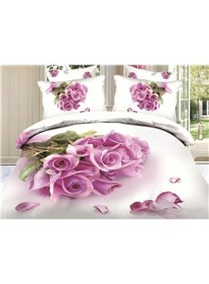 New Arrival Top Class Skin Care Bunch of Pink Roses 3D Print 4 Piece Bedding Sets