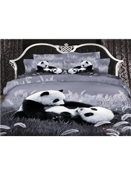 New Arrival Top Class Skin Care Lovely Panda 3D Print 4 Piece Bedding Sets