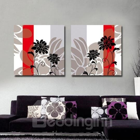 New Arrival Abstract Black Chrysanthemum Flowers Print 2-piece Cross Film Black Wall Art Prints