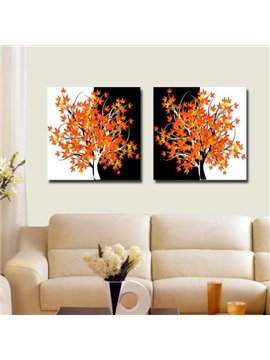 New Arrival Beautiful Maple Trees Print 2-piece Cross Film Black and White Wall Art Prints