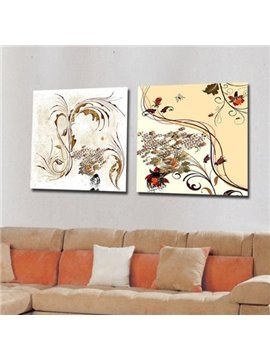 New Arrival Modern Style Abstract Leaves and Flowers Print 2-piece Cross Film Beige Wall Art Prints