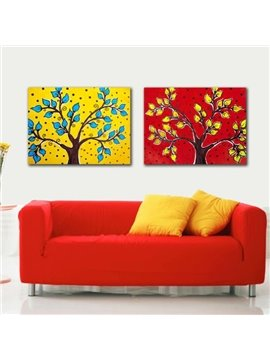 New Arrival Beautiful Trees and Leaves Print 2-piece Cross Film Red and Yellow Wall Art Prints