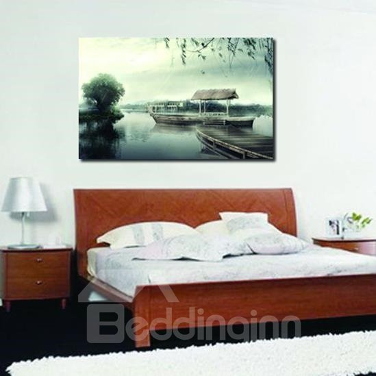 New Arrival Elegant Boat at the Dock Scenery Print Cross Film Wall Art Prints