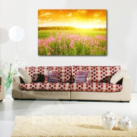 New Arrival Beautiful Pink Flowers in the Field Print Cross Film Wall Art Prints