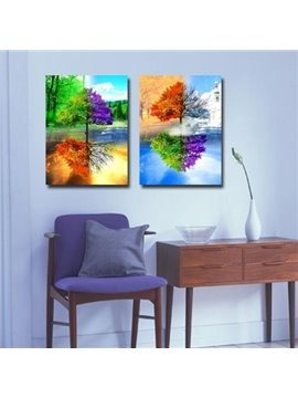New Arrival Vivid Colorful Trees and Reflections Print 2-piece Cross Film Wall Art Prints