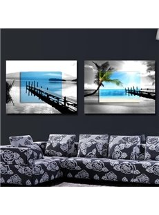 New Arrival Elegant Blue and Grey Beach Scenery Print 2-piece Cross Film Wall Art Prints