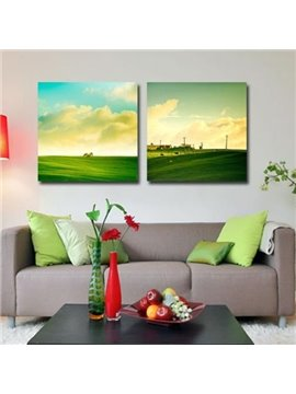 New Arrival Beautiful Prairie Print 2-piece Cross Film Green Wall Art Prints