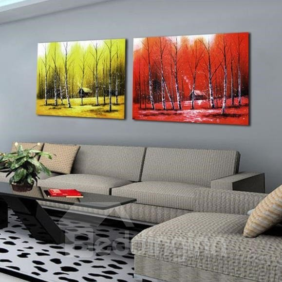 New Arrival Beautiful Red and Yellow Forests Print 2-piece Cross Film Wall Art Prints