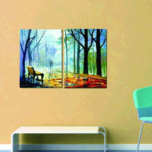 New Arrival Oil-painting Style Lovers Walking in the Park Print Cross Film Wall Art Prints