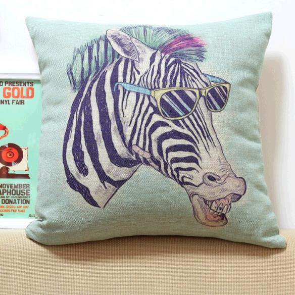 New Arrival Lovely Cartoon Zebra Wearing Sunglasses Print Throw Pillow Case