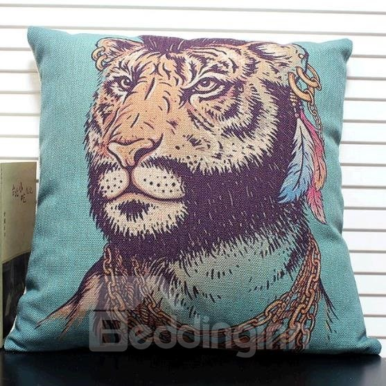 New Arrival Cute Indian Tiger Head Print Throw Pillow Case
