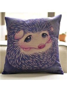 New Arrival Cute Purple Hedgehog Print Throw Pillow Case