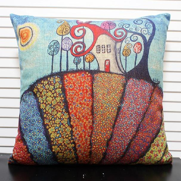 New Arrival Lovely Fairy-tale Castle Print Throw Pillow Case