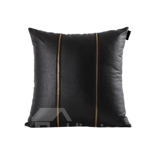 New Arrival Dashing Dark Double Zippers Leather Throw Pillow Case