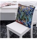 New Arrival Oil-painting Style Beautiful Irises Print Throw Pillow Case