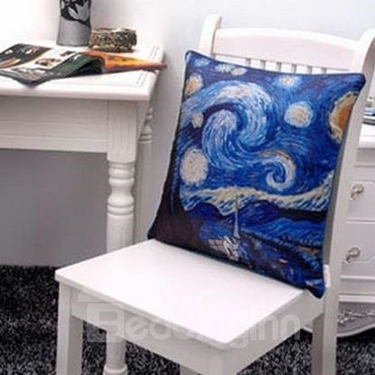 New Arrival Oil-painting Style Beautiful Starry Sky Print Throw Pillow Case