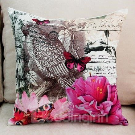New Arrival Beautiful Butterfly and Red Flowers Print Throw Pillow