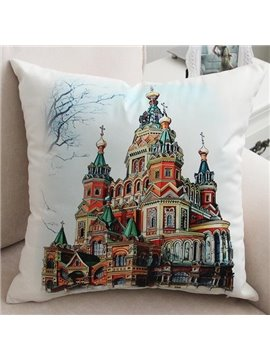 New Arrival Beautiful Dreamy Colorful Castle Print Throw Pillow