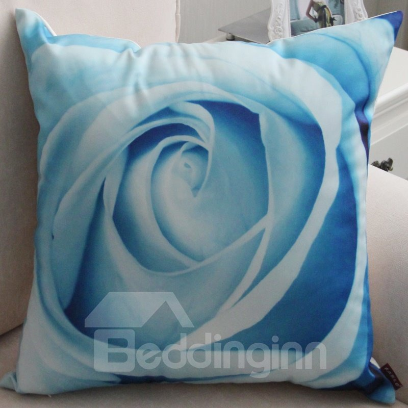 New Arrival Beautiful Light Blue Lifelike Rose Flower Print Throw Pillow