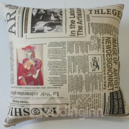 New Arrival European Style Antique Newspaper Print Throw Pillow