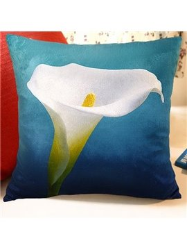 New Arrival Beautiful Single Head Calla Flowers Print Throw Pillowcase