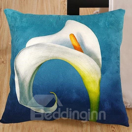 New Arrival Lovely Calla Flower with Curly Brim Print Throw Pillowcase