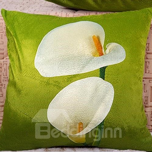 New Arrival Lovely Double Heads of Calla Flowers Print Throw Pillowcase