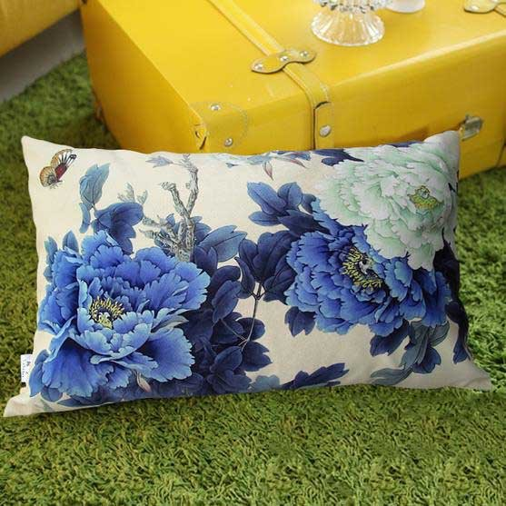 New Arrival Beautiful Classy Blue Peony Flowers Print Rectangular Throw Pillowcase