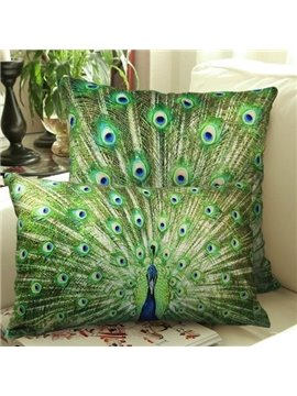 New Arrival One Pair of Beautiful Peacock Spreading Tail Print Throw Pillowcases