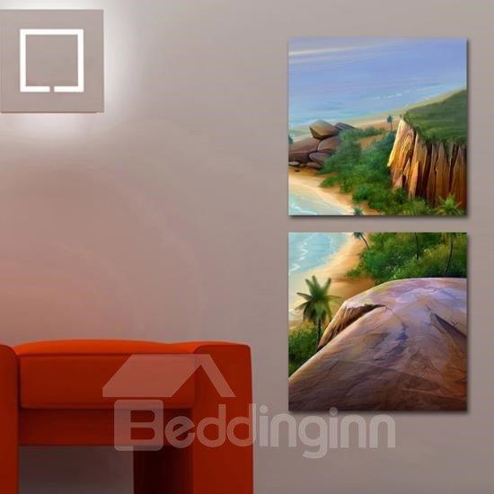 New Arrival Beautiful Beach and Cliffs Print 2-piece Cross Film  Wall Art Prints