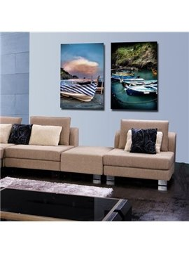 New Arrival Beautiful Boats on the Shore Print 2-piece Cross Film Wall Art Prints