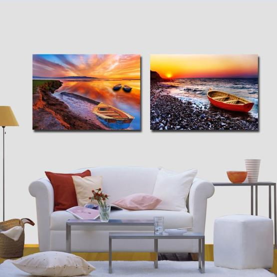 New Arrival Beautiful Beach Scenery in the Sunset Print 2-piece Cross Film Wall Art Prints