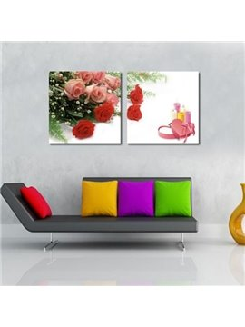 New Arrival Beautiful Red and Pink Roses Print 2-piece Cross Film Wall Art Prints