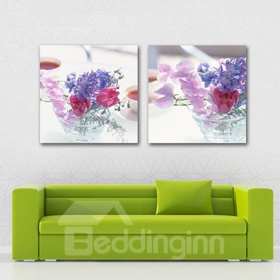 New Arrival Lovely Pink and Purple Flowers Print 2-piece Cross Film Wall Art Prints