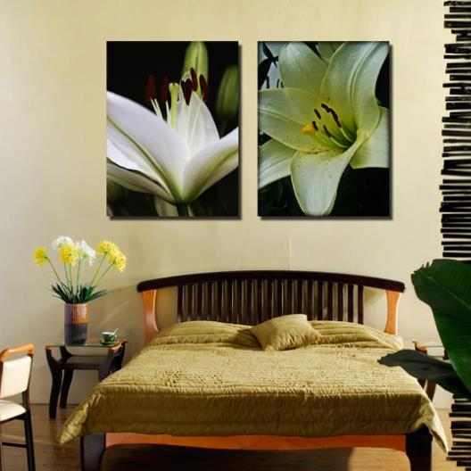 New Arrival Elegant White Lily Flowers Print 2-piece Cross Film Wall Art Prints 10869850