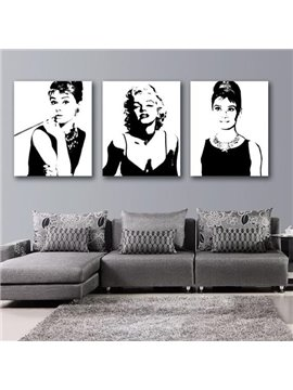 New Arrival Beautiful Marilyn Monroe and Audrey Hepburn Print 3-piece Cross Film Black Wall Art Prints