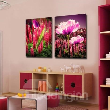 New Arrival Lovely Blooming Flower and Bud Print 2-piece Cross Film Wall Art Prints