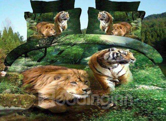 New Arrival Stunning Lion and Tiger Print 4 Piece Bedding Sets